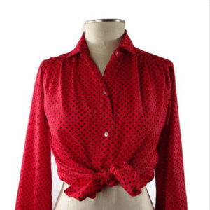 VTG EVAN PICONE || Red & Black Polka Dot Blouse